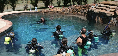 Picture of students in the pool